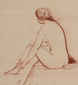 Italo : Jeune femme enlevant son bas